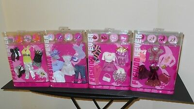 4 FASHION FEVER Barbie Doll Fashion Clothes Closets, 2005, 2006, NEW