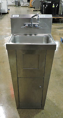 """Advance Tabco 7-PS-99 14"""" Hand Sink w/ Trash Receptacle and Cabinet Storage"""