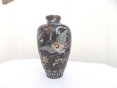 Antique Meiji Period Japanese Cloisonne Vase W/Large Rooster & Butterfly Design