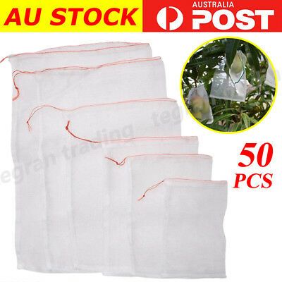 50 × Agriculture Garden Fruit Vegetable Protection Exclusion Mesh Net Bags