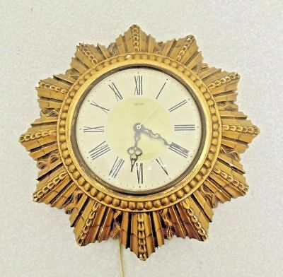 Smiths Sectric Wall Clock 8 Day Sunburst Starburst Electric Vintage 1960's Used