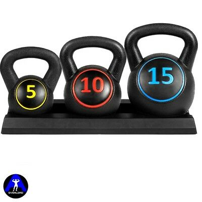 Kettlebell Weights Set With Base Rack  5lb 10lb 15lb Weight Training Workout Set
