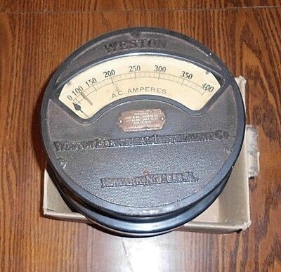 Antique Weston  Elect. Instrument Co. 400 A. C. Ampers. 9 In. Newark, N. J. Usa