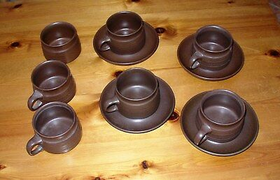 Denby Mayflower cups saucers and sugar bowl