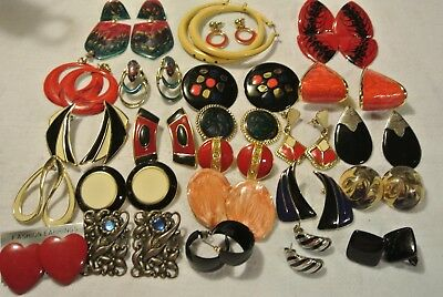 Large Lot Of Vintage To Now Enamel Earrings All Peirced Some Chunky Some Smaller
