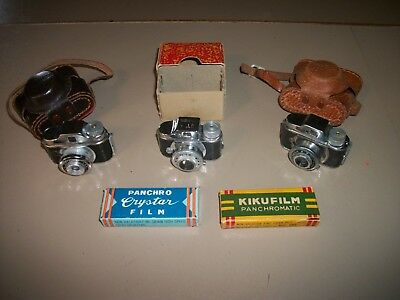 3 Differant Vtg. MINI Spy CAMERAS/Hit,Diplomat,& Betson's/Panchromatic Film Also
