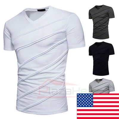 Men's Slim Fit V Neck Short Sleeve Muscle Tee T-shirt Ripped Casual Tops Blouse