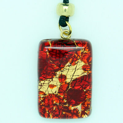 Red and Gold Rectangular Murano Glass Venetian Pendant Necklace