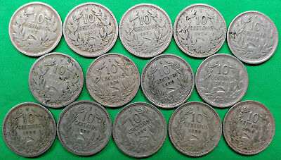 Lot of 14 Different Old Chile 10 Centavo Coins 1921-1940 Vintage South America
