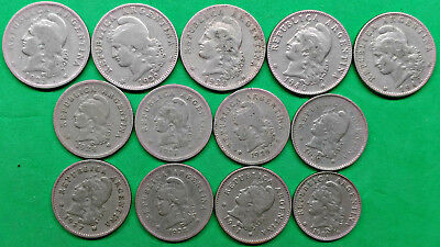 Lot of 14 Different Old Argentina 5-10-20 Centavos Coins 1924-1941 South America
