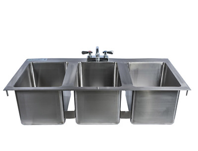 "Stainless Steel 3 Compartment Drop-In Sink 37"" x 19"" with Faucet & Drains"