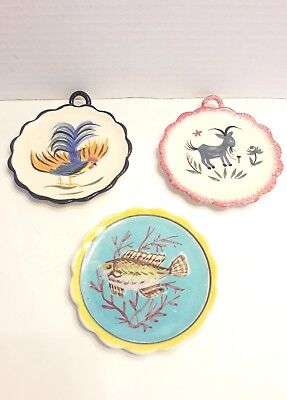 3 Vintage Henriot Quimper Handpainted Wall Plates Signed Numbered