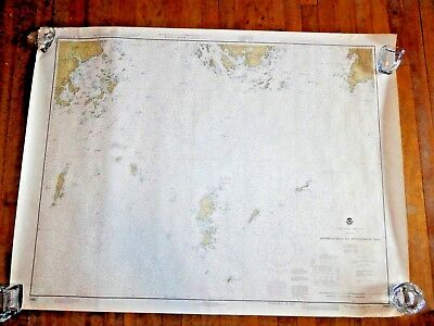 """Vintage 1979 Nautical Chart~Approches to Penobscot bay 48""""x36""""~map~sailing~Maine"""