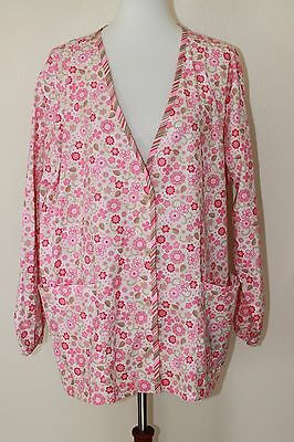 Barco XXL 2XL Pink Floral Scrub V-Neck Front Button Jacket with Pockets NWT
