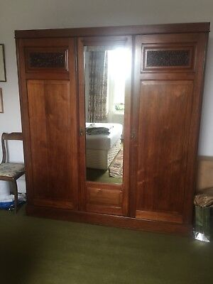 Arts And Crafts Oak Wardrobe with Drawers and mirror