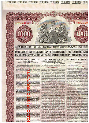German Government...1930 (Young-Loan), $1000 Gold-Anleihe