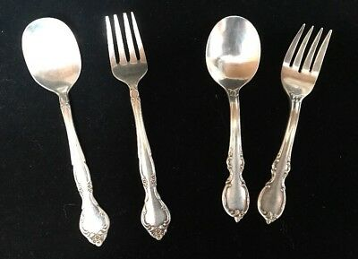 Vintage 1847 Rogers Bros.silver plate Baby Spoon & Fork Reflection&Community (I)