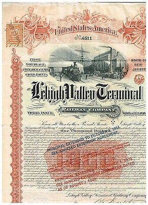 Lehigh Valley Terminal Rwy. Co., 1891, 1000 $ Gold Bond