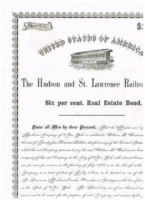 Hudson and St. Lawrence Railroad Co., 1875, 2500$ bond