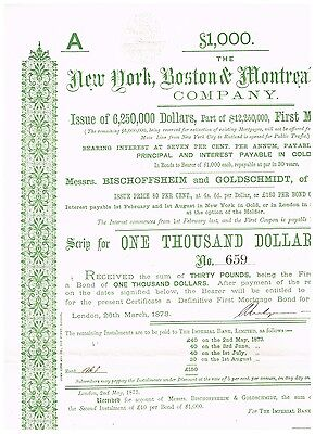 New York, Boston & Montreal Railway Co., 1873, rare