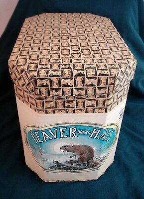 Antique/Vintage BEAVER BRAND HAT BOX--No Hat--Box is FLAWLESS-Store Advertising