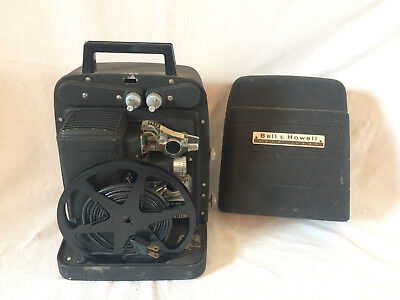 VTG Bell and Howell 8mm Movie Film Projector With Case-Model 256 TESTED WORKS!