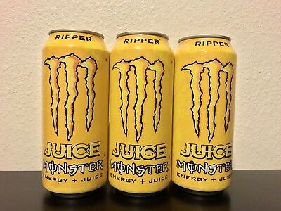 Monster Energy Drink Ripper Juice * 3 Full Cans Discontinued 16 Ounce
