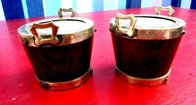 Pair Of Antique Salts In Style Of Half Barrels , Silver Plated Rings And Lined