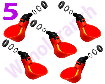 5 x Chicken Drinker Cups automatic float poultry water drink Cup US
