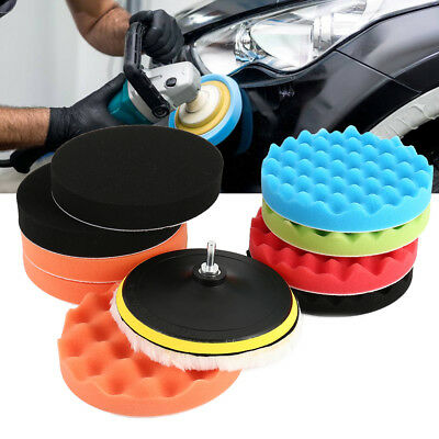 "11Pcs 7"" 180mm Waffle Foam Buffer Polishing Buffing Pads Kit For Car Polisher UK"