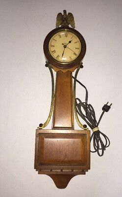 "VINTAGE TREND OAK WOODEN BANJO CLOCK Zeeland, MI ELECTRIC 21"" WORKS EAGLE FINIAL"