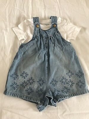 Baby Girl Denim Dungarees 6-9 Months