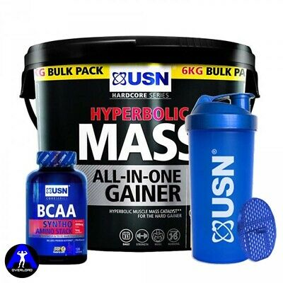 USN Hyperbolic Mass Gainer Powder 6kg + BCAA Syntho Stack 120 Caps + 1Ltr Shaker