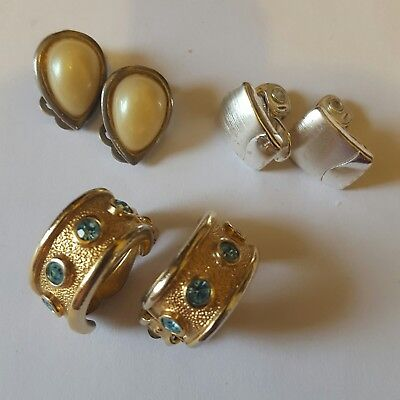 A lovely job lot of 3 pairs of vintage clip on earrings inc Monet.