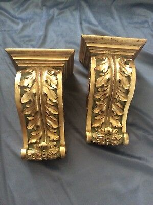 Gold Gilt  Wall Brackets Scone Corbel Cabdle Hokder Antique Style