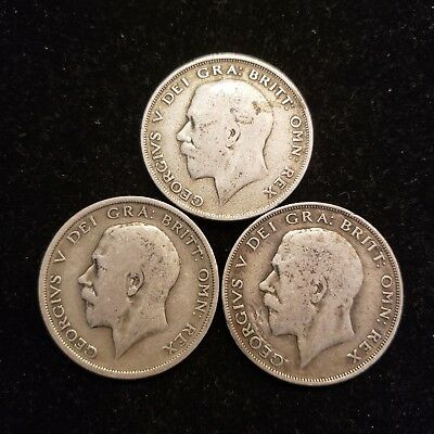 Lot of 3 1920 Great Britain Half Crown Silver Coins