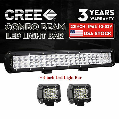 """20inch LED Light Bar Spot Flood Combo + CREE 2x 4"""" Pods Ford SUV 4WD Jeep UTE 22"""