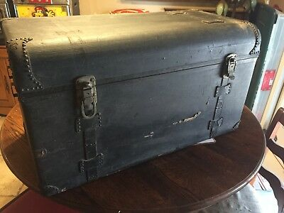 Large Covered Wooden Trunk Chest Storage Vintage Automobile 'AUTOLOCK' Hasps