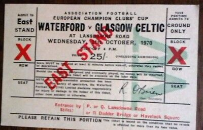 Waterford V Celtic 21/10/1970 European Cup Ticket