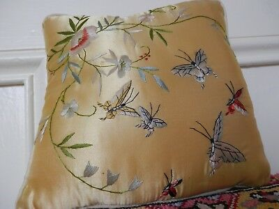 Vintage Silk on Silk Hand Embroidery Cushion Butterflies and Flowers