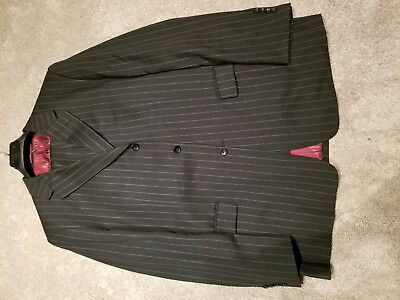 ISAAC MIZRAHI 3B Suit 46L 46 L Charcoal 100 Wool Mint but waist taken out to 42""