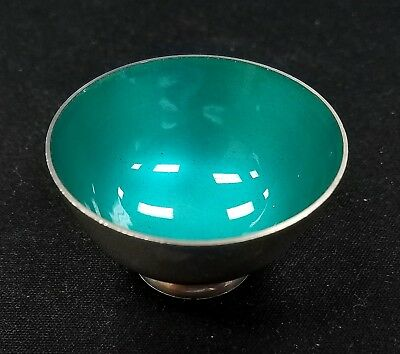 Towle Sterling Silver, turquoise enamel, #059 salt cellar! 40 mm dia., 17.7 g.