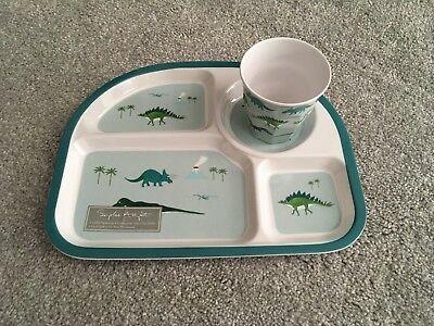 New Melamine Dinosaur Child's Dining Set With Cup