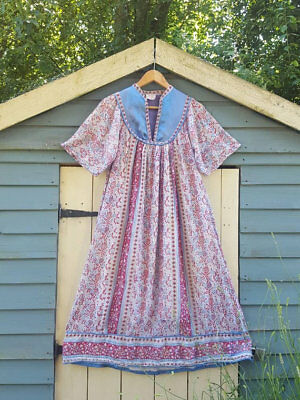 Vtg Indian cotton gauze dress hippy Boho s 8 10 12 usa 6 4 8 smock folk spell