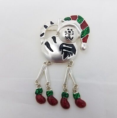 Christmas Cat Brooch Dangle Legs Silver Tone Enamel Red Green Black White Pin