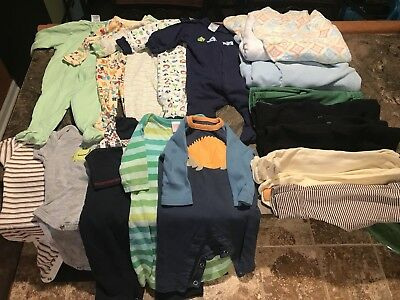 Lot Newborn 0-3 Boy Clothes and Swaddles