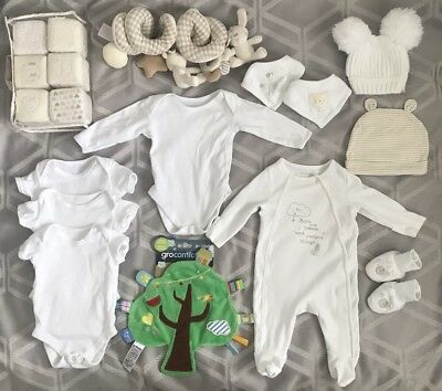 Baby Girls Boys White Unisex Clothes Bundle 0-3 Month Comforter Vests Mothercare
