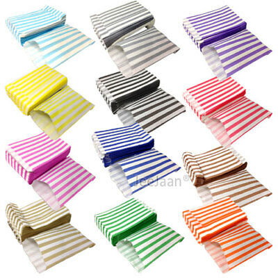 100 Candy Striped Color And White Paper Gift Sweet Bags Wedding Pick N Mix 5X7""