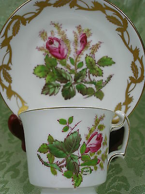 Royal Chelsea Demi Tea Cup And Saucer H.p. Moss Rose Heavily Gilded Vintage Duo