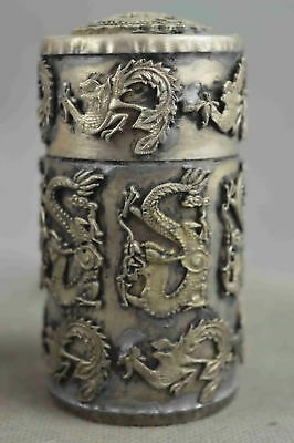 Collectable Handwork Miao SIlver Carve Dragon Phoenix Auspicious Toothpick Box